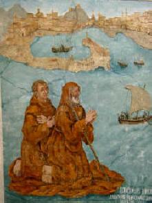 San Francesco di Paola varca lo stretto di Messina sul mantello. Affresco Chiesa di Paola